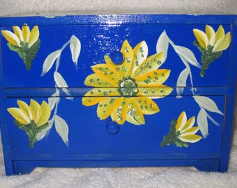Blue Jewelry Chest with yellow flowers two drawers hand painted