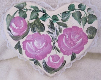 Wooden Heart with pink and white roses hand painted
