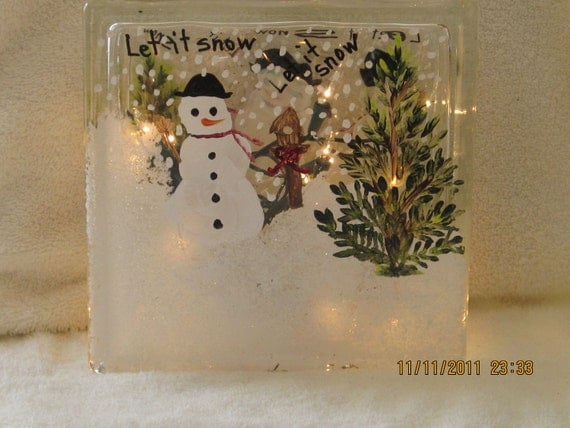 Glass Block with Snowman hand painted