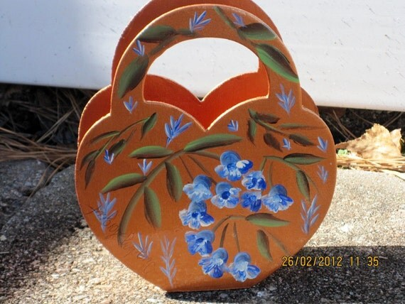 Hand painted Basket with Bellflowers