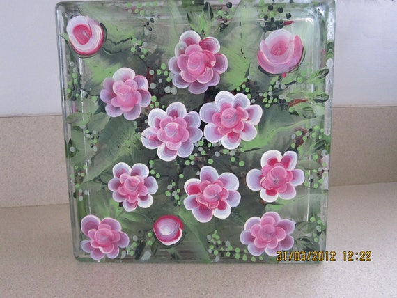 Glass Block with pink Roses