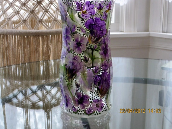 Hand painted Vase with purple flowers