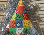 Vintage Fabric Christmas Tree Stuffed Plush Ornament