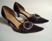 Italian Made Black leather Kitten Heels w/ Buckle 6.5 SALE