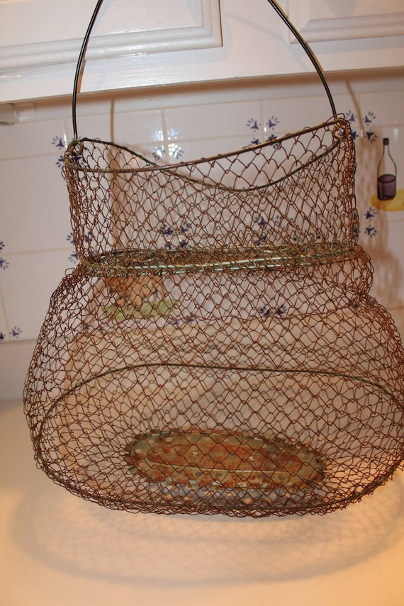 Vintage French Wire Fishing Creel Basket Industrial Lamp Light Cage