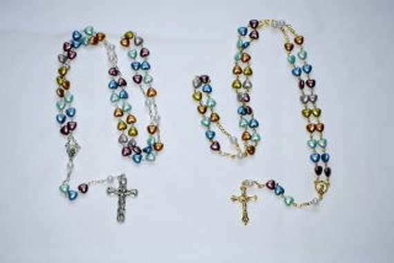 Plastic Heart Rosaries