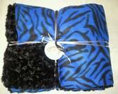 Adult Size. One Blue and Black Zebra Fleece Blanket Lined with Black Minky Swirl. 60 x 70