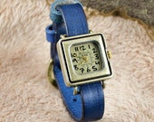 Leather Watch  ,Blue leather ,vintage,classical, WN01-5