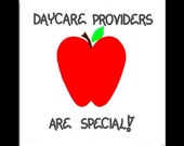 Daycare Provider Magnet - Day care message of thanks for those that do childcare.  Red apple, green leaf