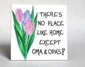 Oma Opa Gift Magnet - Grandparents quote, grandma, grandpa, pastel tulips, green leaves