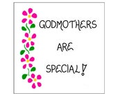 Godmother magnet - Godparent quote, pink flowers, green leaves
