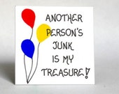 Garage Sale Magnet Quote, tag sale enthusiasts, yard sale lovers, treasure hunters, antique scouts. Red, Yellow, Blue Balloon design