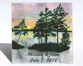 MAGNET - Sunset Wedding Theme,  Save the Date Favor, personalized message.  Multi colored sky, blue water, silhouette trees