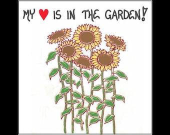 Gardening Magnet - Gardener saying, yellow sunflowers, green leaves