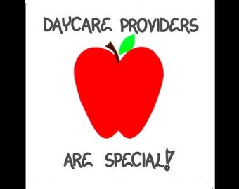 Daycare Provider Magnet - Thank you message, Children's  Day Care, Caregiver, Caring for child,  Red apple