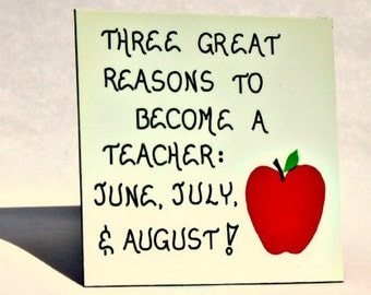 Teacher Magnet, Teaching Quote, Occupation humor, red apple, green leaf design