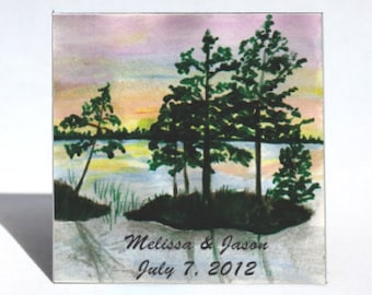 Sunset Wedding Magnet,  Save the Date Favor, personalized message.  Multi colored sky, blue water, silhouette trees