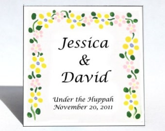 Huppah Wedding Favor - Magnet,  memento, yellow flower marriage canopy, personalized  message. Quantity 50