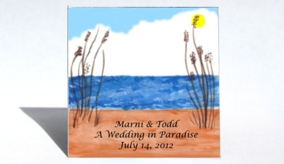 Beach Scene Wedding Magnets, Save the Date, Seaside scene, personalized, custom message. Quantity of 50.
