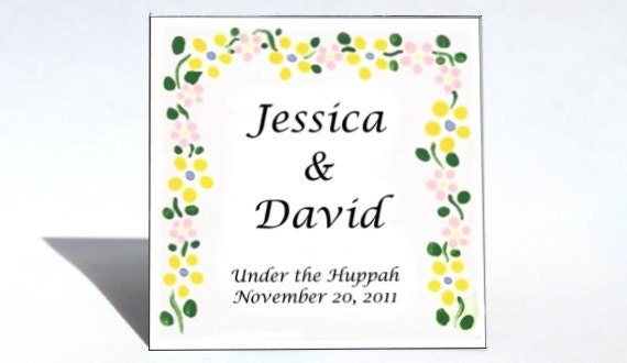 Sample Wedding Favor - Magnet, huppah, yellow flower marriage canopy, personalized message.
