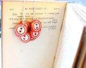 Red Button Clusters // Button Earrings // Funky Earrings