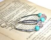 Turquoise Earrings // Seed Bead Earrings // Seed Bead Hoops