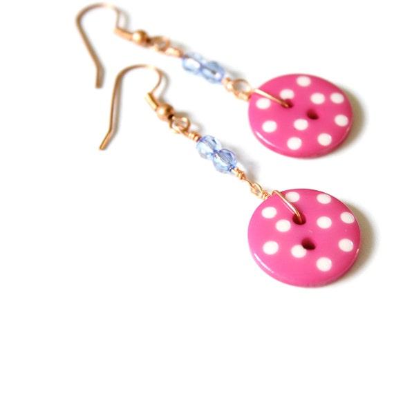 Hot Pink Buttons // Cute Earrings // Pink Button Earrings // Fashion Cute Earrings Button Shabby Chic
