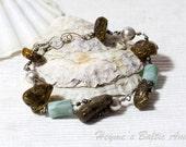 Bracelet of green amber and jasper on sterling silver