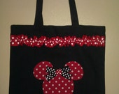 Personalized Minnie Mouse Inspired Tote Bag Red Black and White (Customizable)