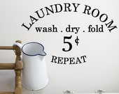 Vintage Style Laundry Room Vinyl Decal