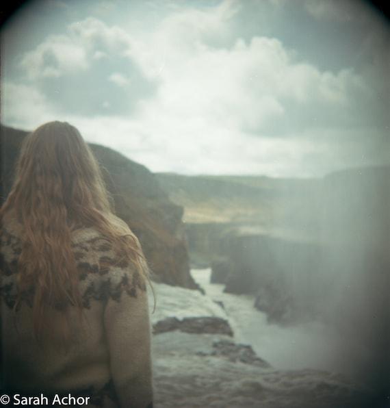8x8 Gullfoss waterfall, Iceland, Color film photograph, girl