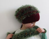 Hand knit Chunky Green Hat & Scarf, Vintage Look, Autumn Accessories
