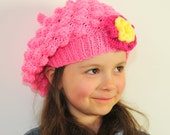 Girl's Hand Knit Pink Popkorn Hat with Flower - Baby, Todler, Child
