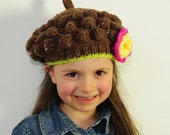 Lovely Girl's Hand Knit Brown Beret Hat with Flower- Baby, Toddler, Chlid