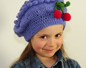 Girl's Hand Crochet Purple Lavender Hat with Cherry  - Baby, Todler, Child, made by PrincesaAnastasia