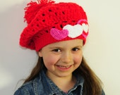 Girl's Hand Crochet Red Hat with Tree Hearts and Pompom  - Baby, Todler, Child, made by PrincesaAnastasia