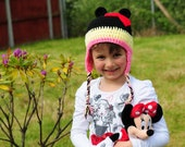Hand Crochet Minnie Mouse Earflap Hat - Baby, Toddler, Child