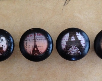 "Eiffel Tower / Paris Drawer Knobs/Drawer Pulls - 1 1/4"" wide and 1"" tall. (Set of 4)"