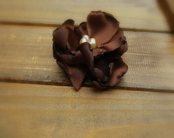 Chocolate Bon Bon, Wedding Flower Hair Clip- Brown Flower Hair Pins- Bridal Accessories