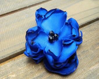 Electric Blue, Wedding Flower Hair Clip- Blue Flower Hair Pins- Bridal Accessories