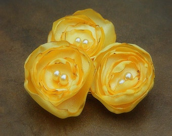 Sunny, Wedding Flower Hair Bobby Pins- Yellow Flower Hair Pins- Bridal Accessories