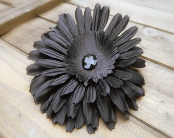 Midnight, Wedding Flower Hair Clip- Black Flower Hair Pin- Bridal Accessories