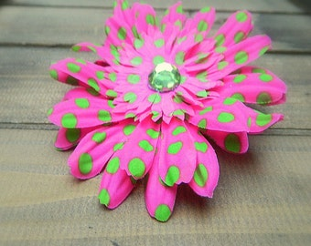 Candy, Wedding Flower Hair Clip- Pink Polka Dot Hair Pin- Bridal Accessories