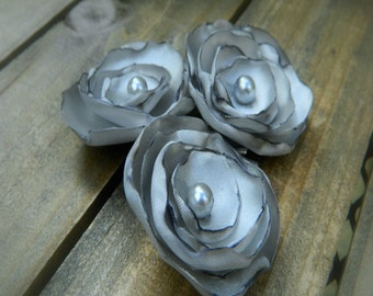Foggy, Wedding Flower Hair Bobby Pins- Grey Flower Hair Pins- Bridal Accessorie