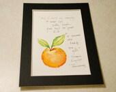 Tangerine - Watercolor & Ink Painting