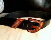 Vintage FANTASTIC 1980s Thick Black & Tan/Brown Leather Belt - Studded Buckle and Accents