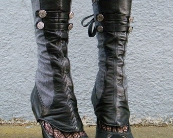 Spats -Leather and Herringbone  with Buttons-Evangeline