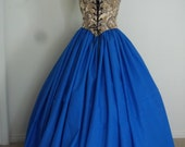 Cream Bodice and Blue Skirt Dress or Costume Set  3 Sizes READY TO SHIP
