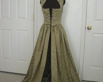 Sage Green Renaissance Over Gown Medieval Dress made to your measurements Wedding