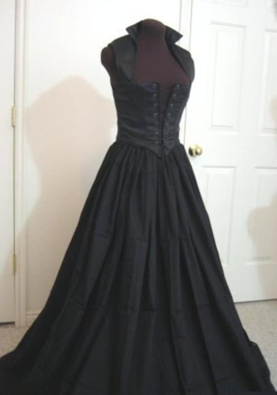 Black Renaissance Bodice and Skirt Dress or Costume Set  Made to FIT YOU!